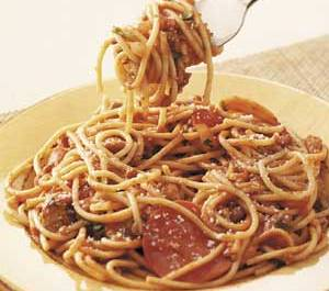 Spaghetti with pizza flavor