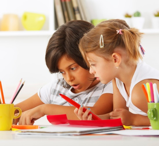 children learning the arts